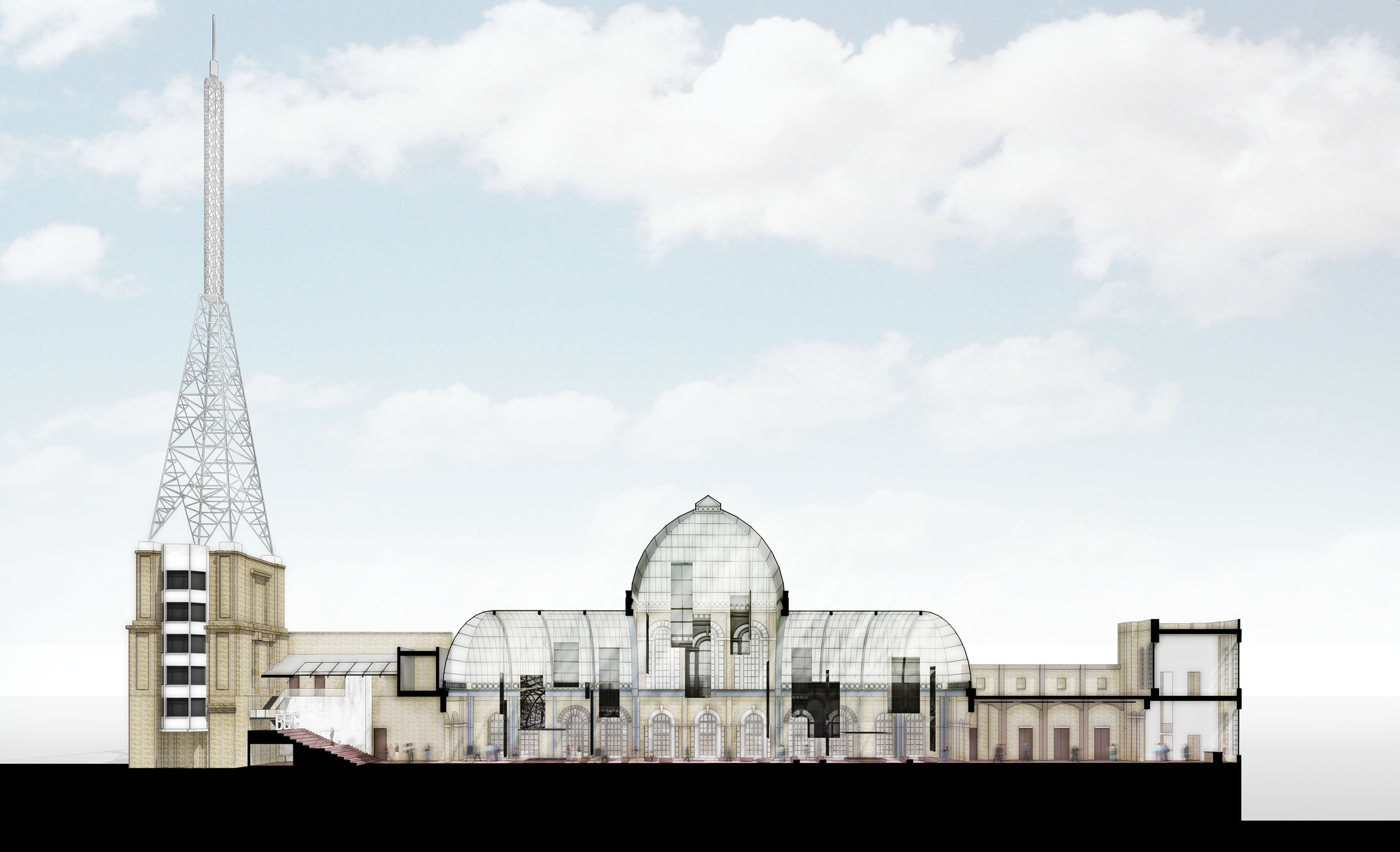 The Future of London's Historic Alexandra Palace Revealed in New Exhibition, Proposed design of eastern end. Image Courtesy of Alexandra Palace
