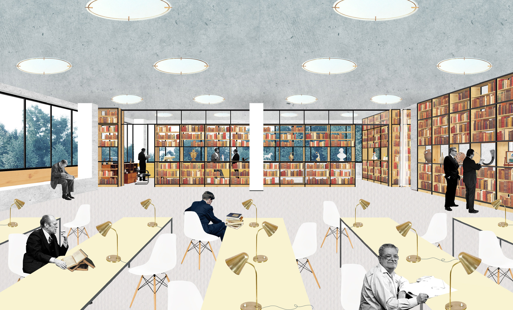 Reimagining 448 Local Libraries in Moscow, One Space at a Time, Interior Collage - #185. Image © SVESMI