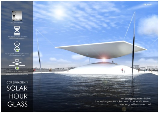 First Prize: The Solar Hourglass / Santiago Muros Cortés . Image Courtesy of LAGI