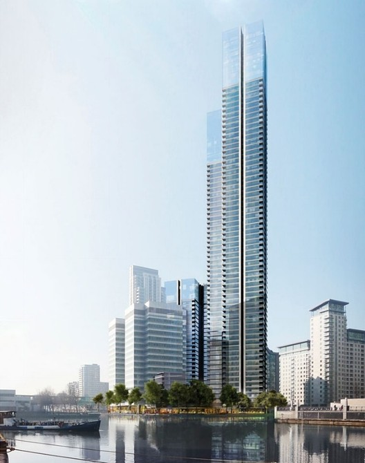 Despite rejecting many of the proposals, Johnson has highlighted London's Docklands as an area for concern, including Foster + Partners' proposal for the tallest residential building in the UK. Image © Foster + Partners