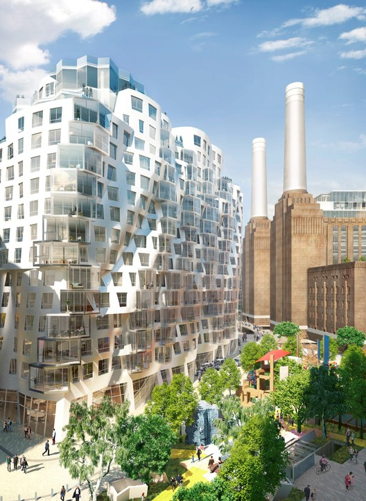 "New Images Released of Foster and Gehry's Battersea Power Station Designs, Gehry Partners' ""Prospect Place"" Building, with Prospect Park Below. Image Courtesy of Battersea Power Station"