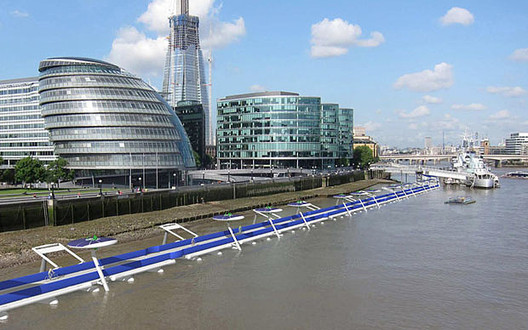 "Architects Envision Buoyant ""Thames Deckway"" for London Cyclists , © RCC"