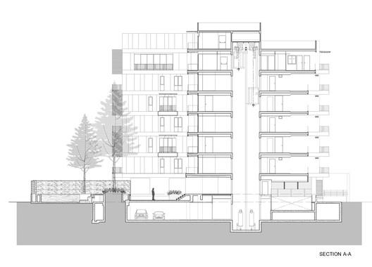 طراحی و معماری آپارتمان مسکونی هفت طبقه: استفاده از صفحات سیمانی به جای چوب