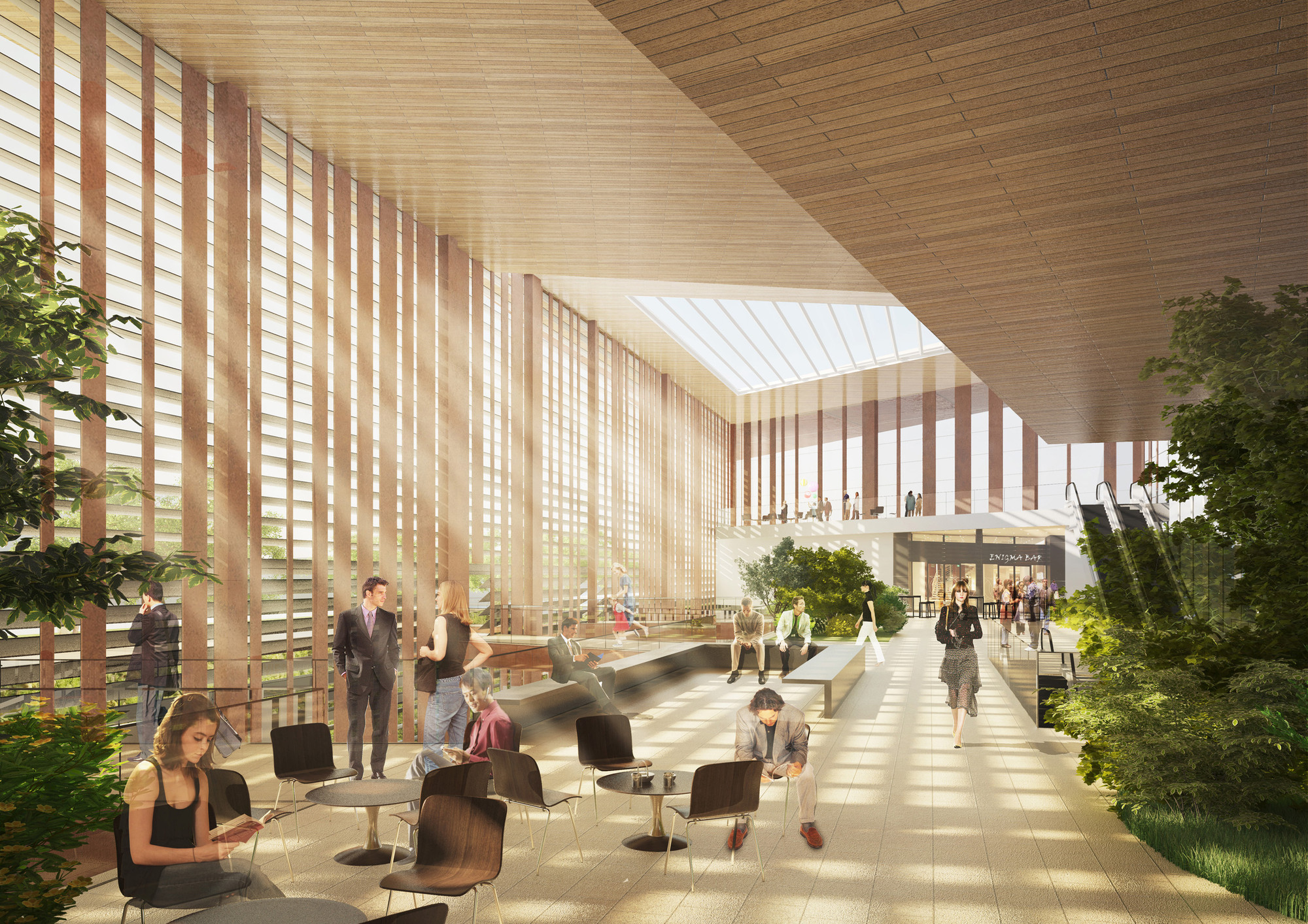 Elizabeth de Portzamparc Wins Competition to Design Le Bourget Metro Station in Paris, A large English court and a skylight to illuminate the interior. Image © Elizabeth de Portzamparc Architecte