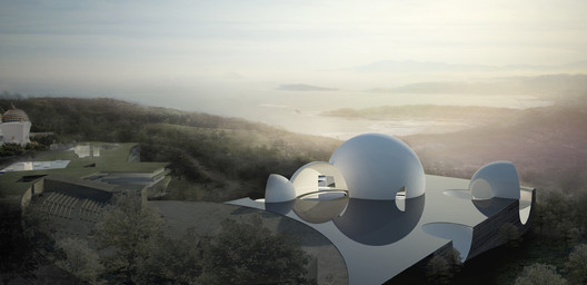 View of Oceanic Pavilion towards the Pacific Ocean. Image Courtesy of Steven Holl Architects