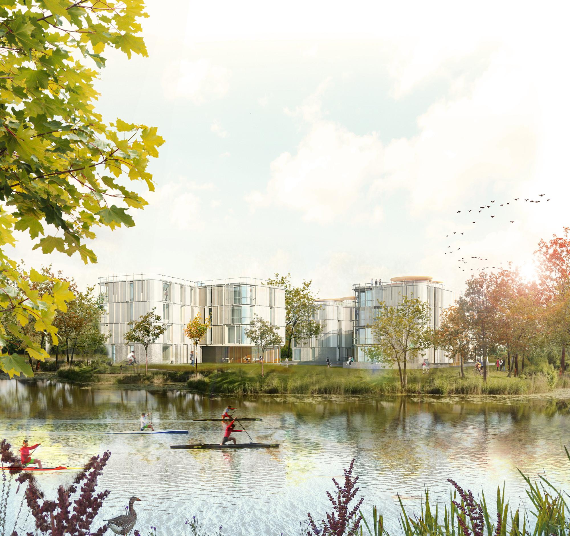 Primer Lugar en Concurso de viviendas y espacio verde público / Aarau, Suiza, Cortesia de amann-canovas-maruri + Adelino Magalhaes