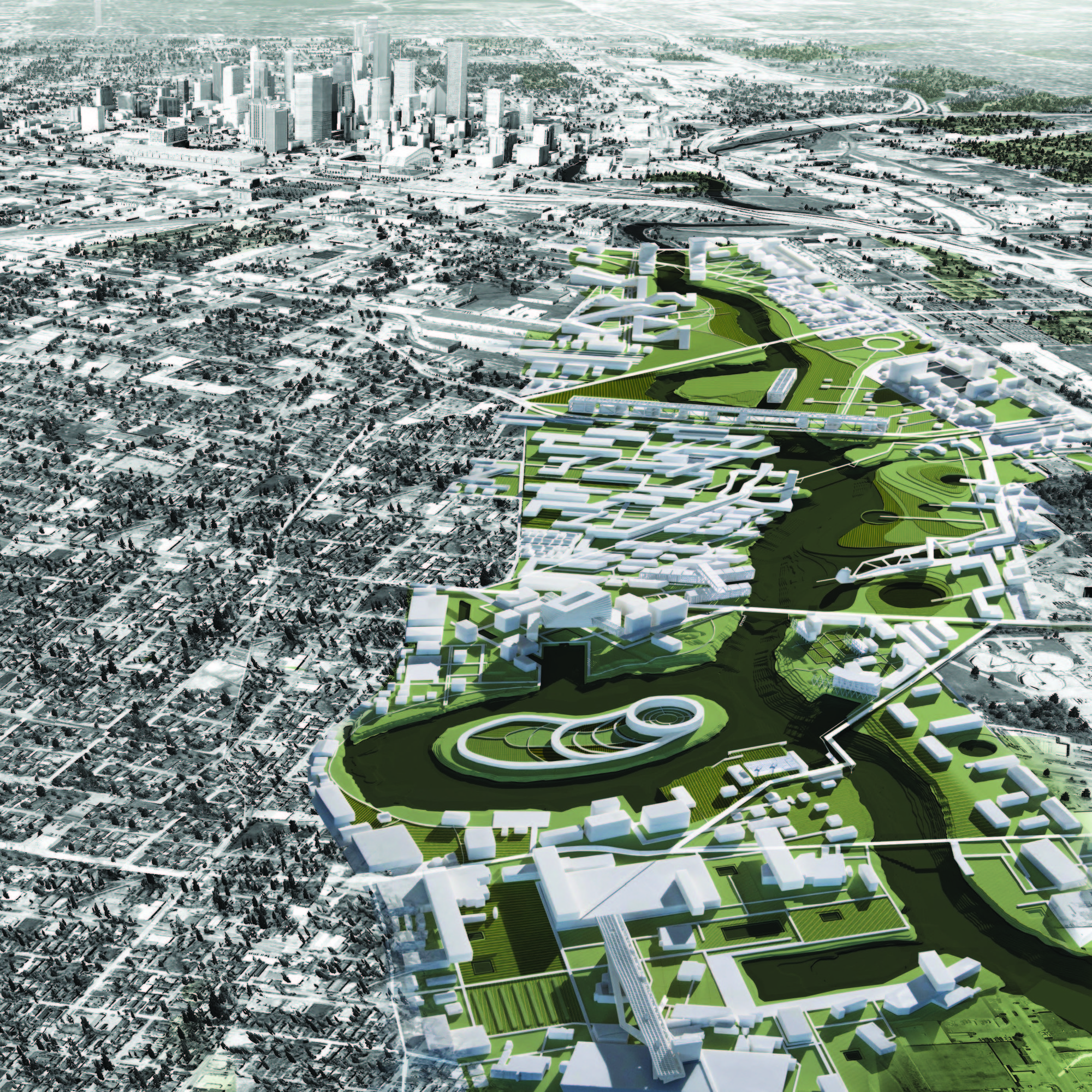 A Walk Along the Bayou: An Award-Winning Proposal Aims to Reinvent Houston's River, 02 Mile Aerial Perspective - Downtown. Image Courtesy of UH College of Architecture