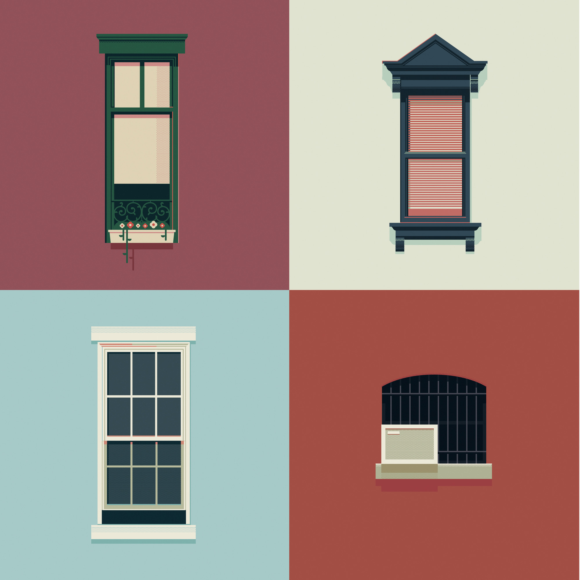 The Windows of New York and São Paulo , New York City-based graphic designer José Guizar's captures the city's eclectic array of windows through his weekly illustrations. Image Courtesy of José Guizar