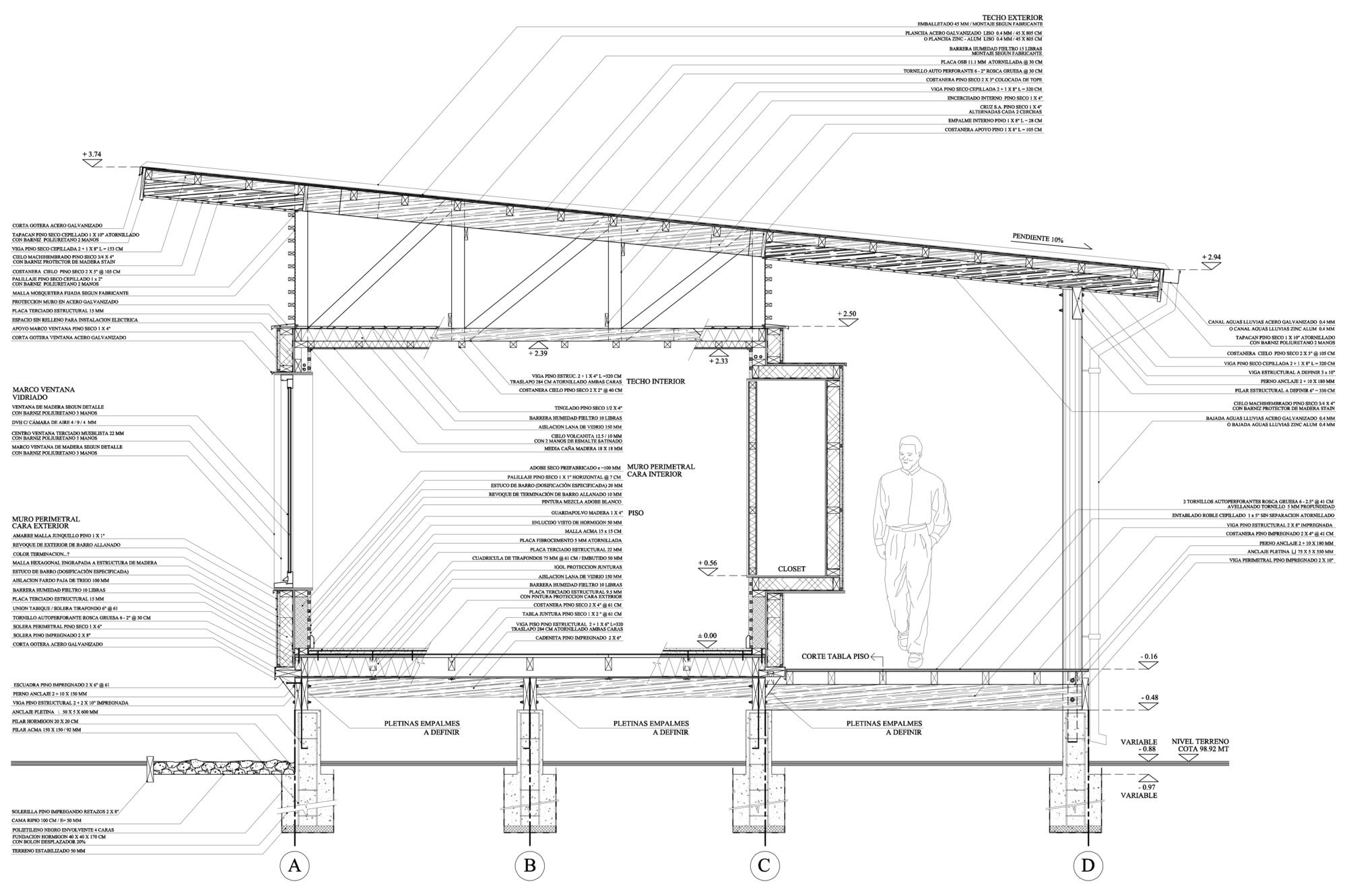 Galer a de en detalle madera paja y adobe centro for Ventanas para techos planos argentina