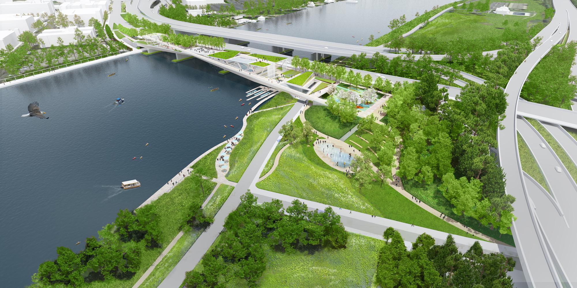 gallery of oma   olin selected to design d c  u0026 39 s 11th street bridge park