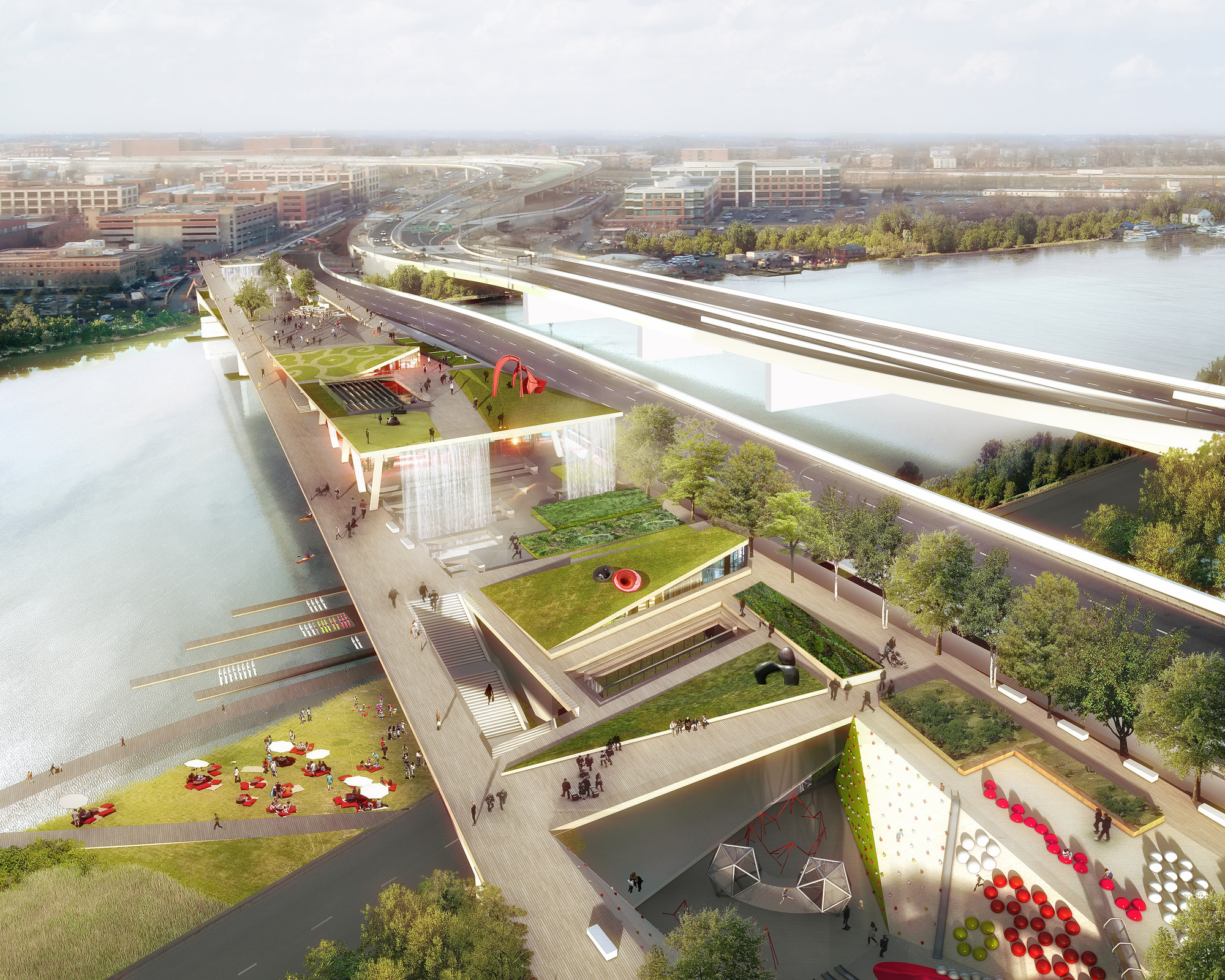 OMA + OLIN Selected to Design D.C.'s 11th Street Bridge Park, © OMA & Luxigon