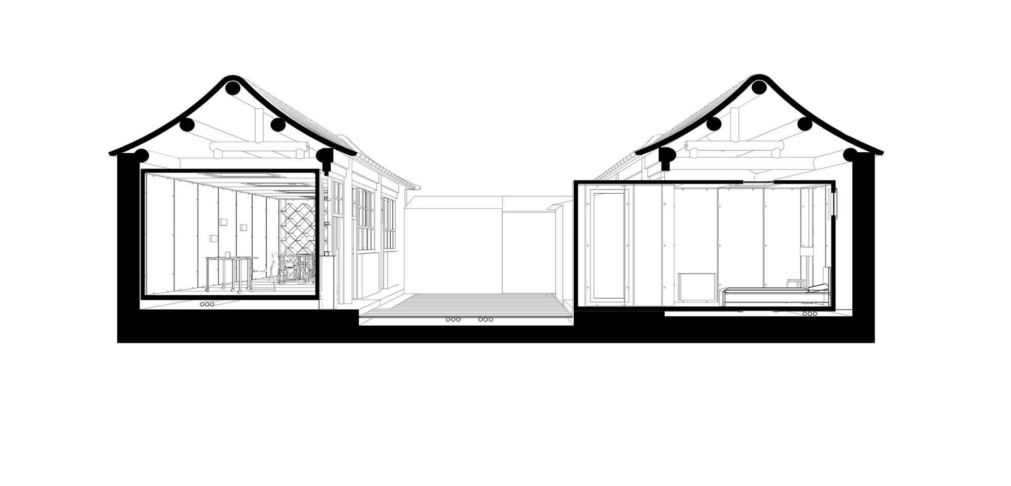 the courtyard house plugin people s architecture office archdaily drawing section