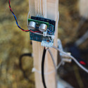 Arduino sensors embedded in the structure measure human movements in the pavilion. Image Courtesy of OFL Architecture