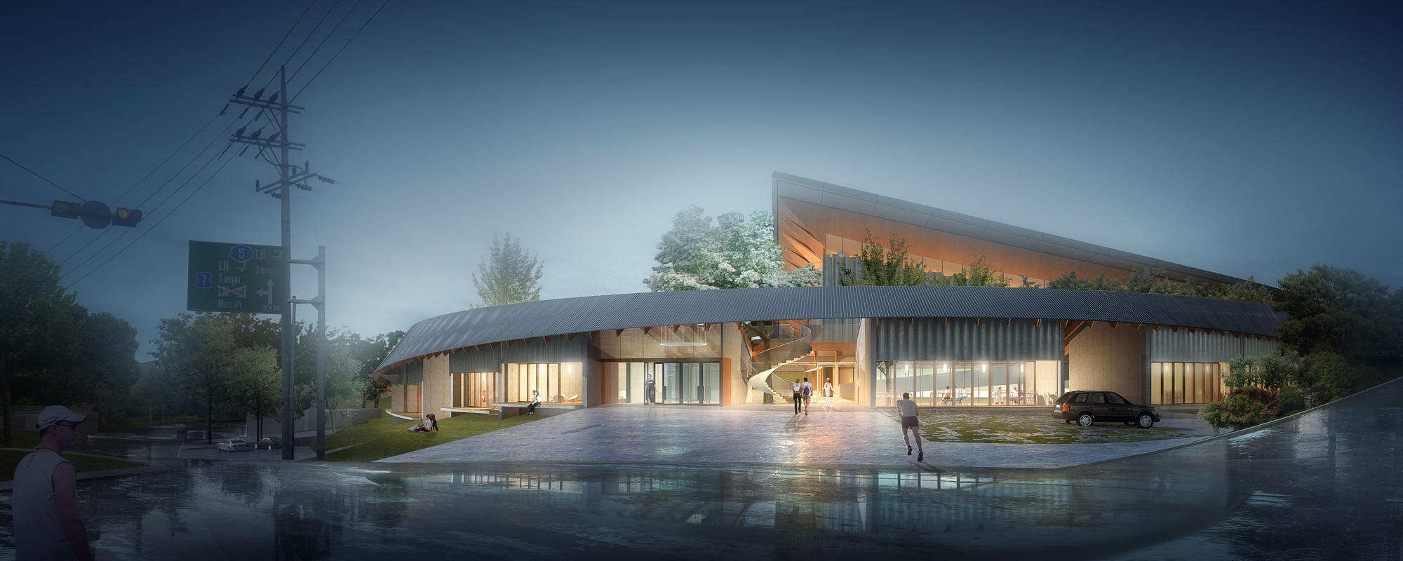 Competition Entry: NOA's Proposal for Dalseong Citizen's Gymnasium, Entrance. Image © Nomad Office Architects