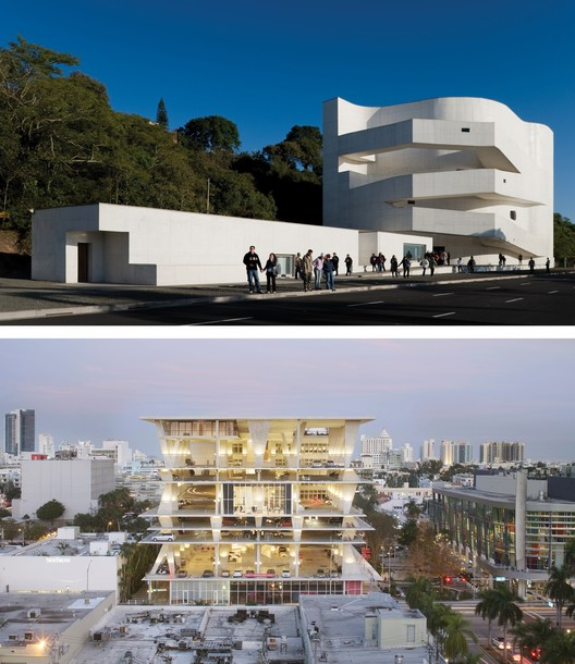 The winners of the inaugural MCHAP Award, recognizing outstanding projects in the Americas: Álvaro Siza's Iberê Camargo Foundation in Porto Alegre, Brazil and Herzog & de Meuron's 1111 Lincoln Road. Photographs © Fernando Guerra | FG + SG - últimas reportagens and © Hufton + Crow