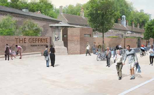 View from Hoxton Station, Geffrye Street. Image © Wright & Wright Architects