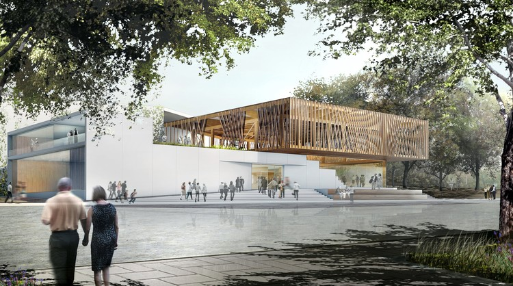 Studio Gang Breaks Ground on Chicago Writers' Theatre, Main Entrance . Image © Studio Gang Architects