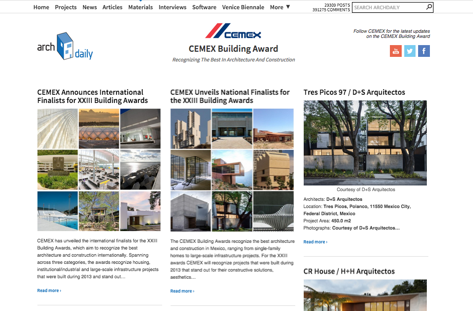 We're Teaming Up With CEMEX To Cover the XXIII CEMEX Building Award