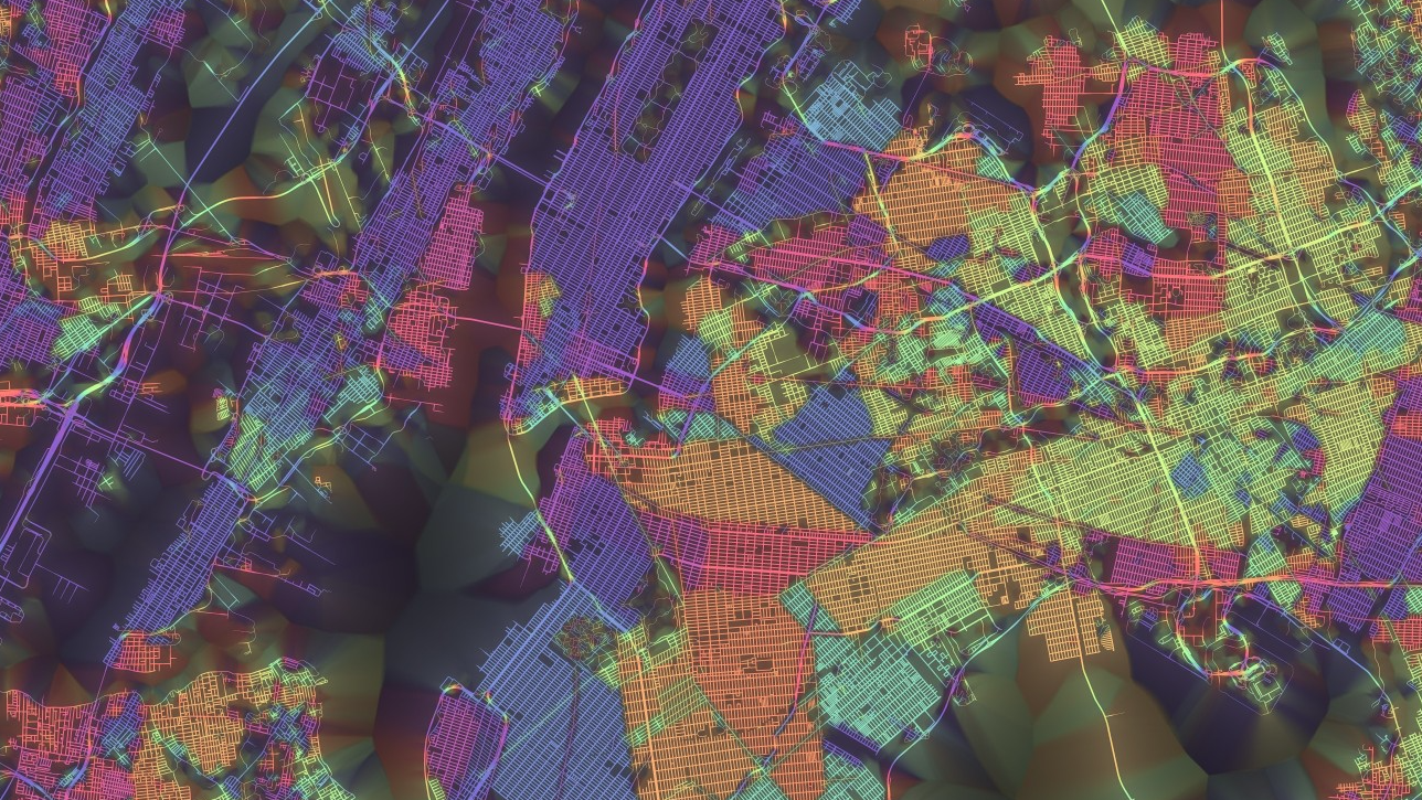"Enter the Mesmerizing World of Rainbow Coloured Maps with ""Crayon the Grids"", New York City. Image Courtesy of Stephen Von Worley"