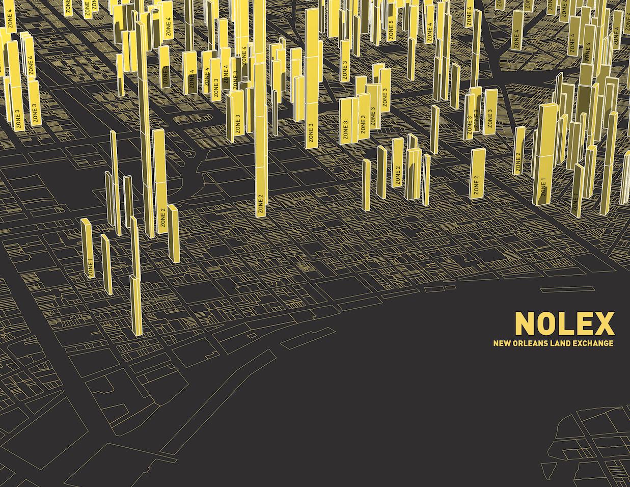 Três finalistas desenvolverão estratégias de reutilização de terrenos desocupados em New Orleans, NOLEX. Cortesia de VAI
