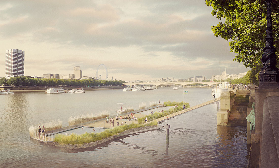 Studio Octopi Proposes Floating Swimming Pool in the Thames, The latest iteration of the design proposed for Victoria Embankment. Image © Studio Octopi / Picture Plane