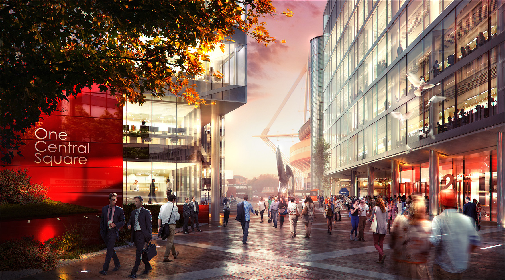 Foster + Partners Reveals Cardiff Central Square Masterplan, Millennium Walkway. Image Courtesy of Cardiff City Council