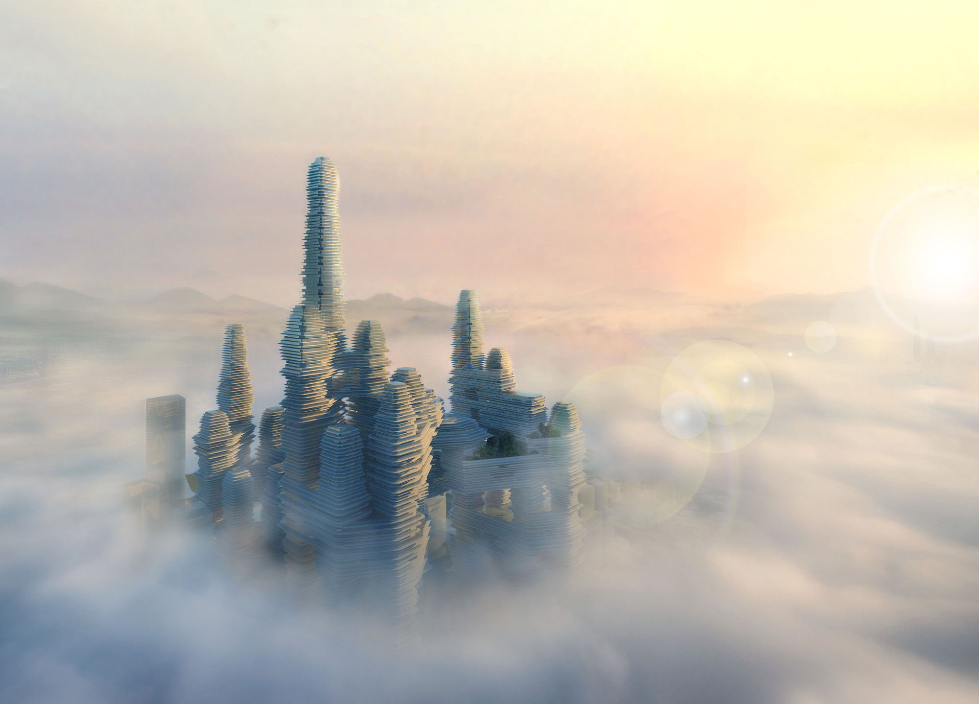 From the Ground Up: China and the New Vertical City, Cloud Citizen. Image Courtesy of Courtesy of Urban Future Organization and CR-Design
