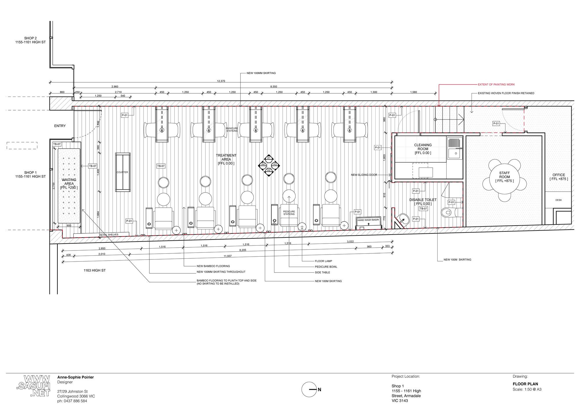 Nail Salon Floor Plan: Missy Lui Spa / Sasufi