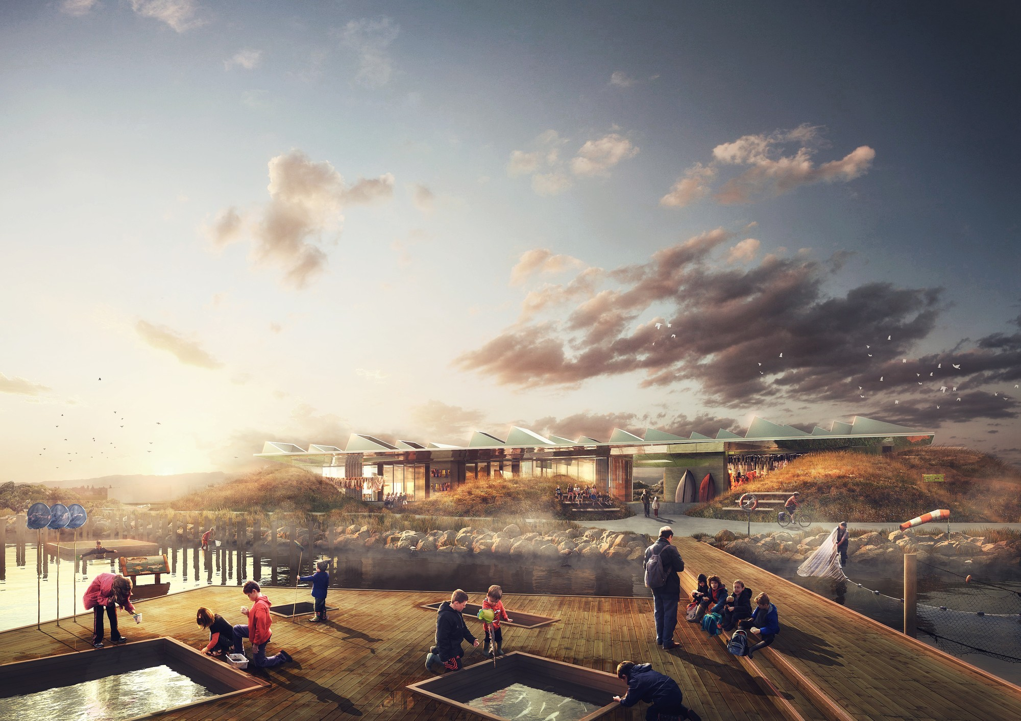 NORD Wins Competition to Design Marine Education Center in Malmö , View from sea. Image © NORD Architects