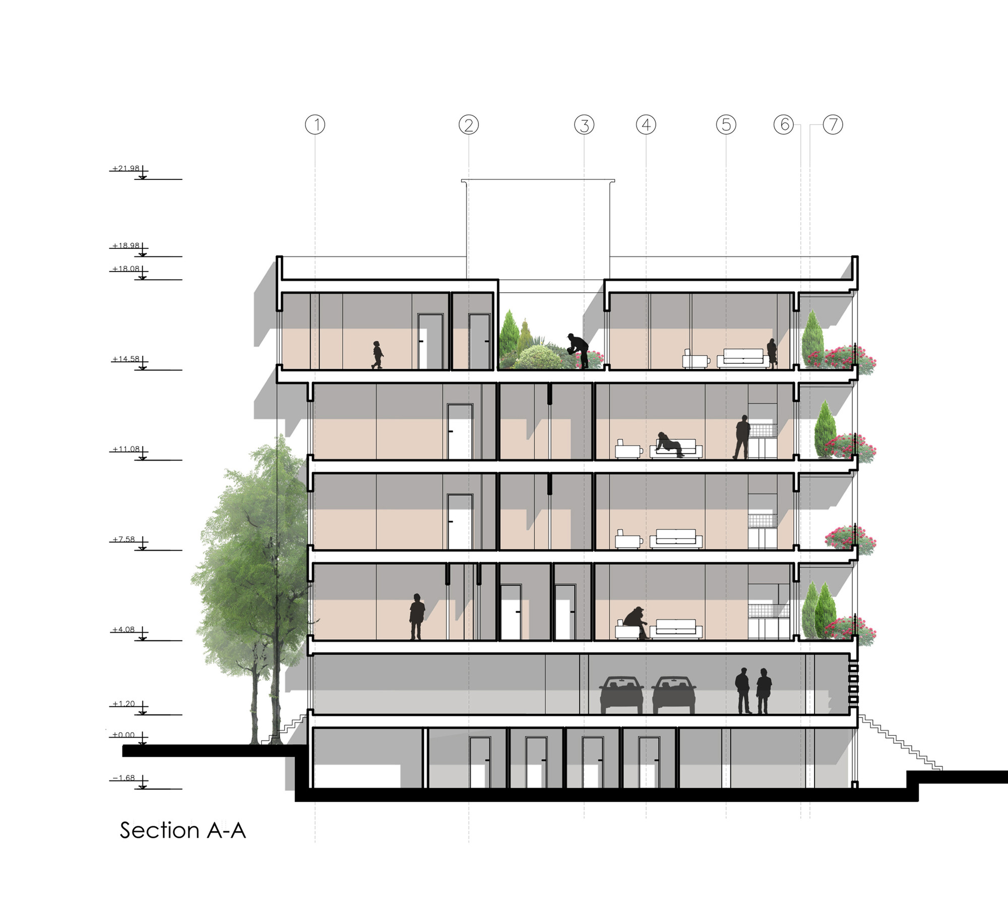 Haghighi residential buildingsection aa