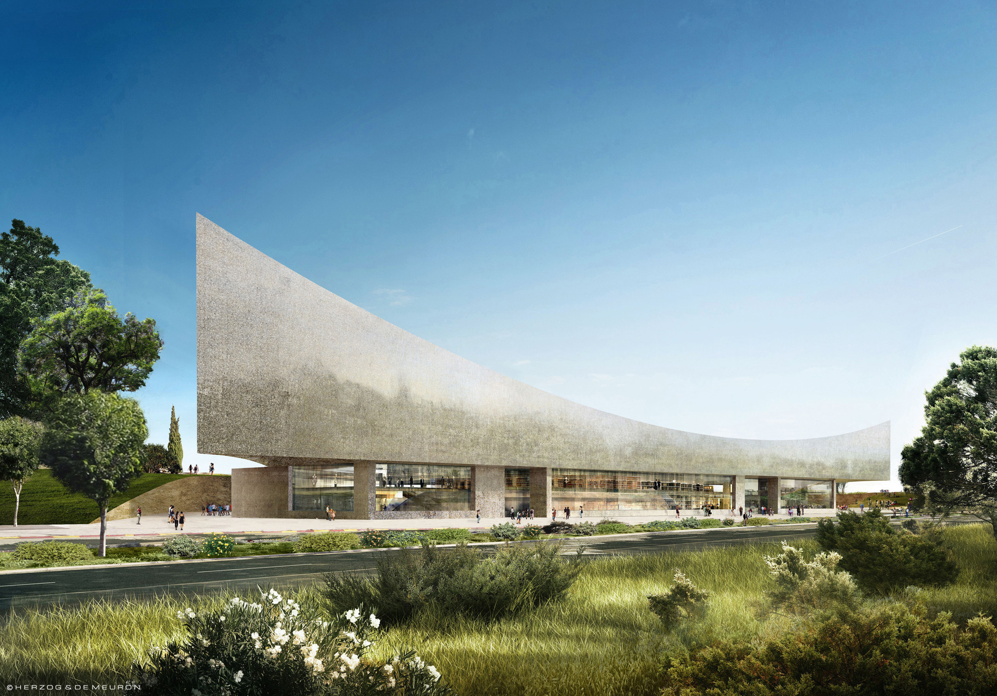 Images Released of New Herzog & de Meuron-Designed National Library of Israel , Courtesy of Herzog & de Meuron