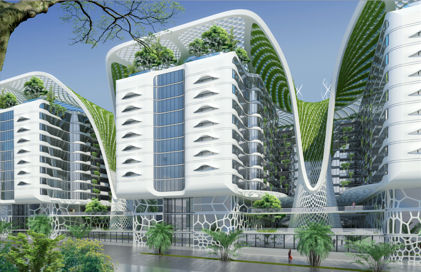 Vincent Callebaut Designs Sustainable Mixed-Use Complex for Cairo, Perspective Towards a Courtyard. Image Courtesy of VCA