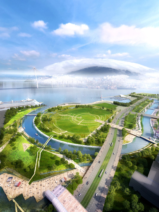 SYNWHA Consortium Wins Competition to Design Waterfront Park for Busan North Port, Nomad Park. Image Courtesy of SYNWHA Consulting
