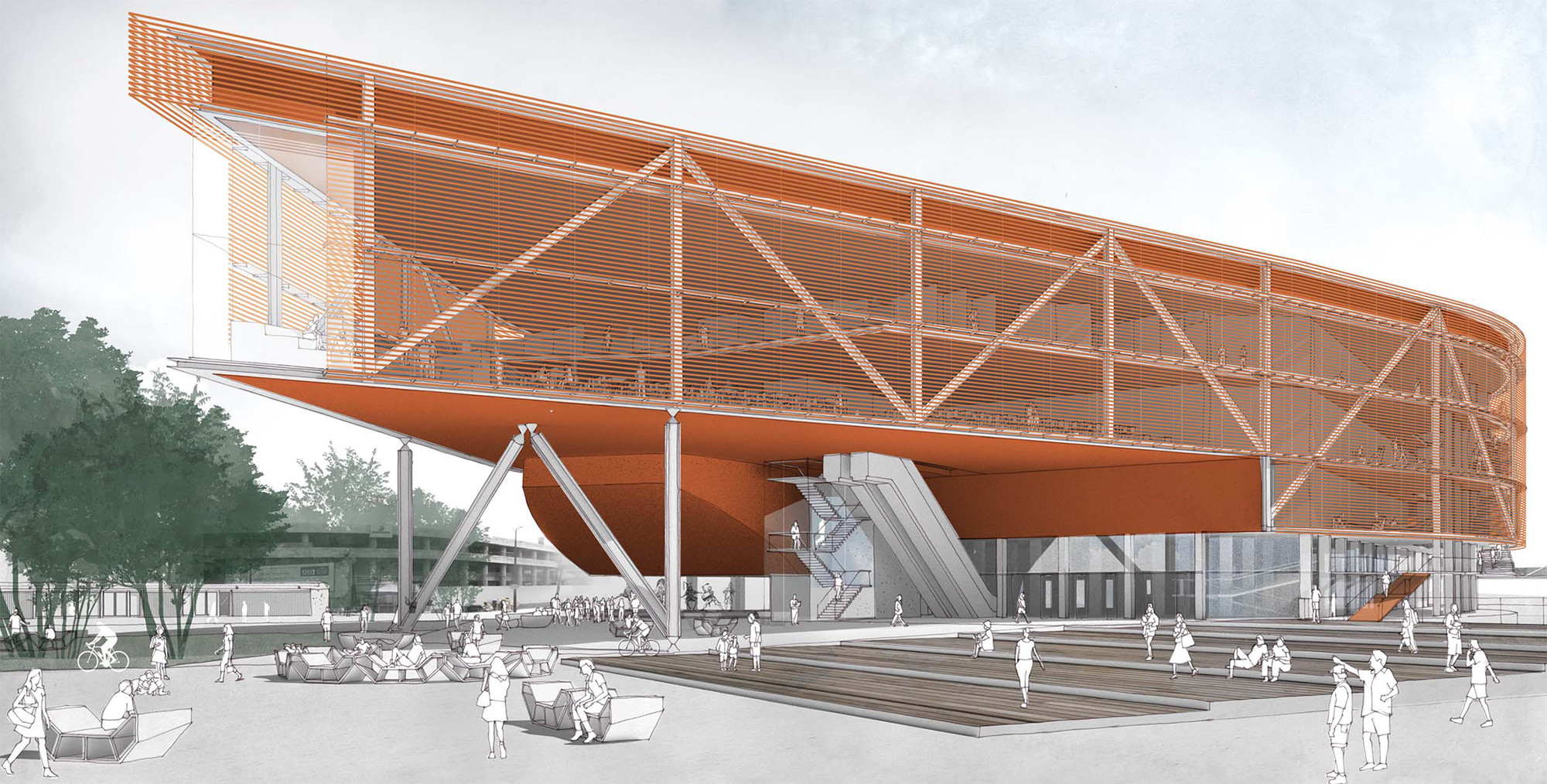 Resultado do Concurso Anexo da Biblioteca Nacional, Primeiro Lugar - Hector Vigliecca . Image Cortesia de IAB-RJ