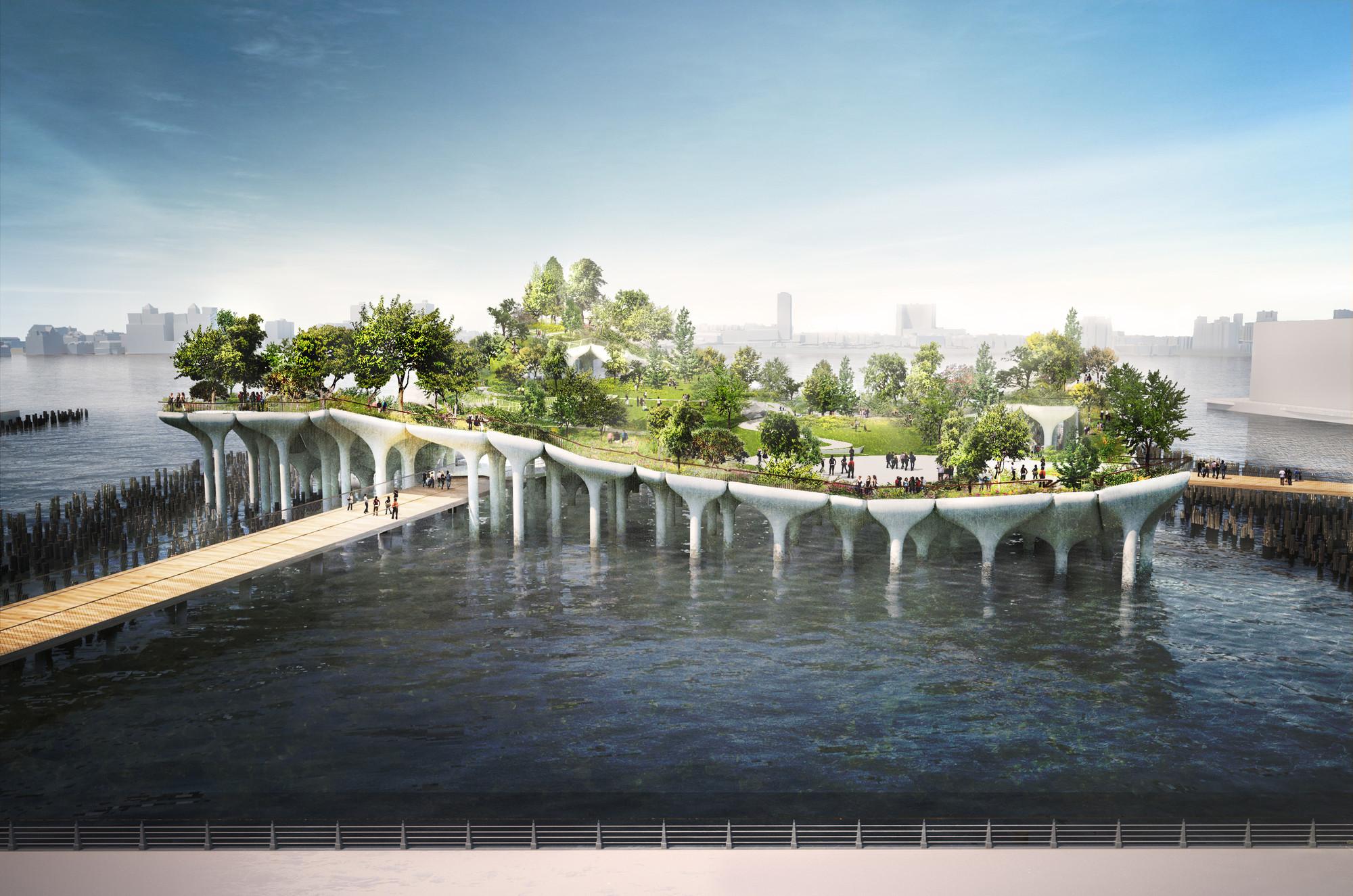 "Heatherwick to Construct $170 Million ""Pier 55"" Park Off Manhattan's Hudson River Shoreline, Pier 55 from the esplanade looking west. Image © Pier55, Inc. and Heatherwick Studio, Renders by Luxigon"