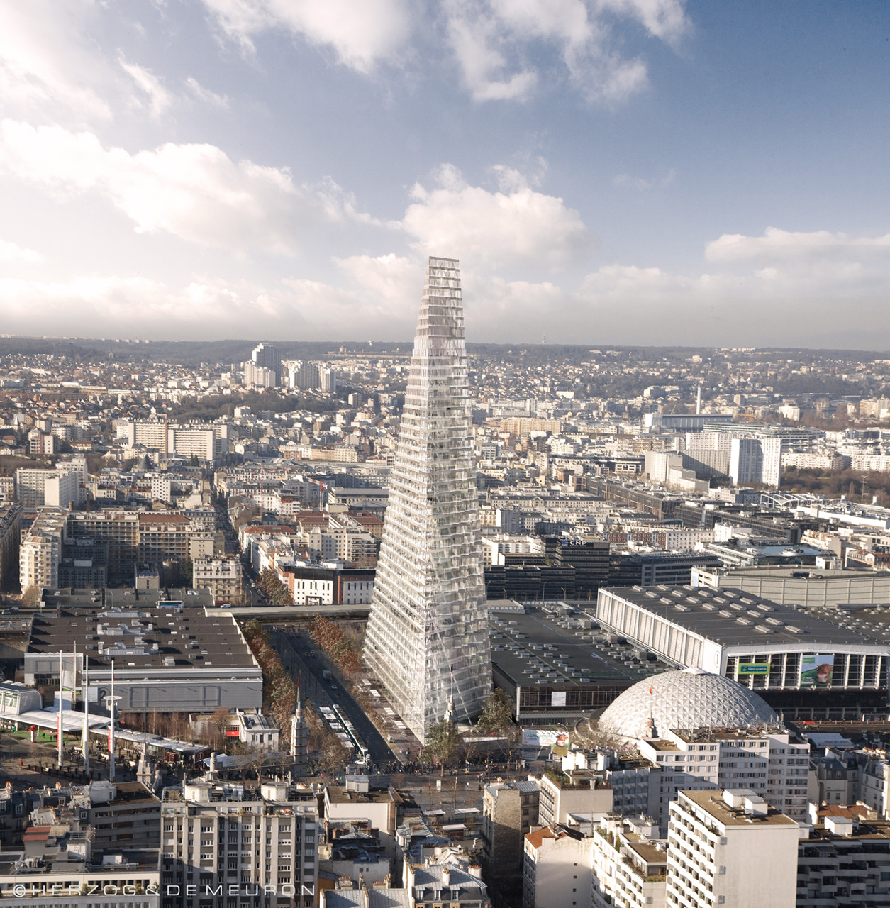 "Paris' City Council Rejects Herzog & de Meuron's 180-Meter ""Triangle Tower"", Courtesy of Herzog & de Meuron"