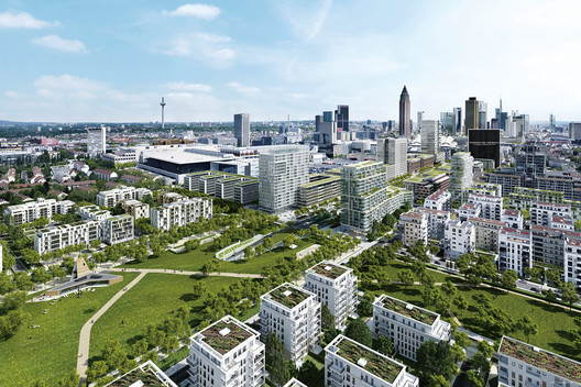 Frankfurt's proposed redeveloped downtown with Porsche Design Tower site marked. Image © Tjie Emptyform, Aurelis via Bustler