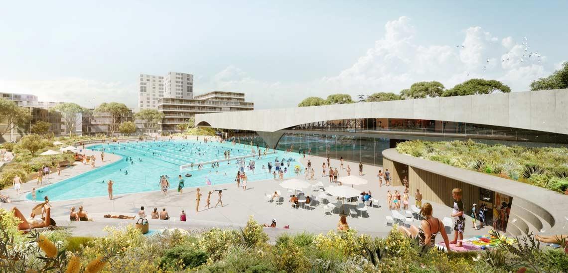 Andrew Burges Architects vence concurso para projetar um parque e um centro aquático em Sydney, © Andrew Burges Architects via www.cityofsydney.nsw.gov.au