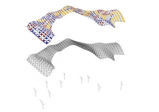 Axonométrica: cobertura estrutural. Cortesia de Miralles Tagliabue EMBT