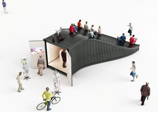 Information kiosk. Image Courtesy of NL Architects