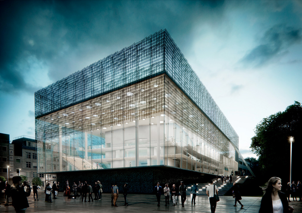 Jahn Proposes Concert Hall with Musically-Inspired Screen for Beethoven Festspielhaus Competition, Exterior. Image © Jahn