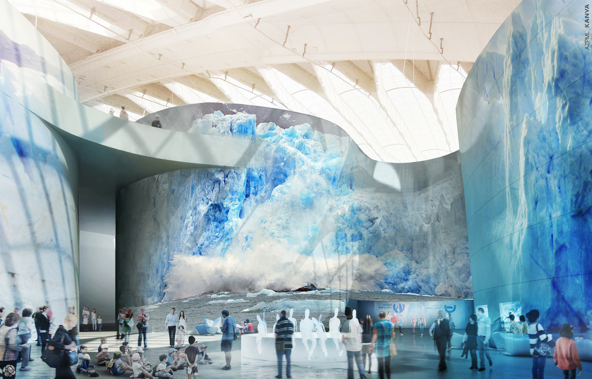 AZPML and KANVA Reimagine Montréal's Biodome in Winning Competition Design, Wall Projection. Image Courtesy of AZMPL