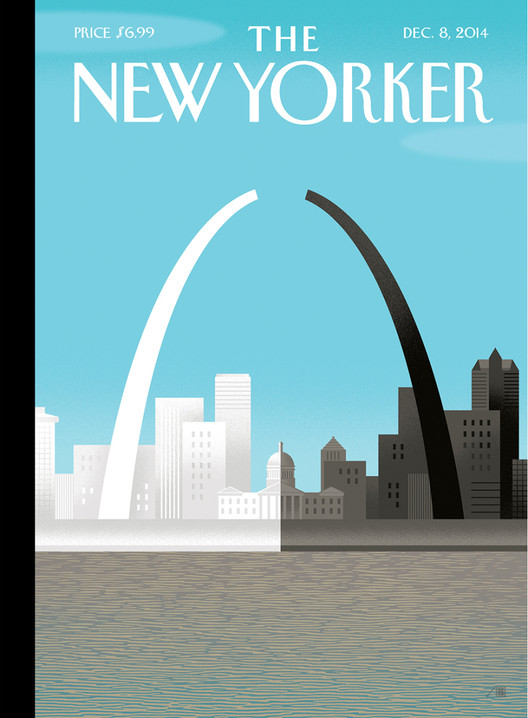 Latest New Yorker Cover Addresses Ferguson Rift With Saarinen's Iconic Arch, The Cover of The New Yorker's December 8th Issue. Image © The New Yorker / Bob Staake via newyorker.com