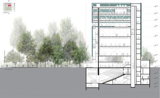 Corte longitudinal. Image Cortesia de AUM Arquitetos
