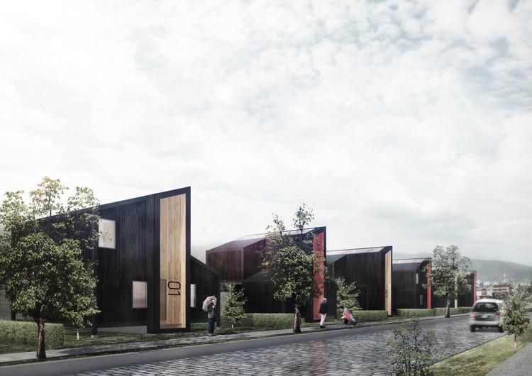 Primer Lugar en concurso de diseño de vivienda social sustentable en la Patagonia / Aysén, Chile, Cortesía de B+V Arquitectos