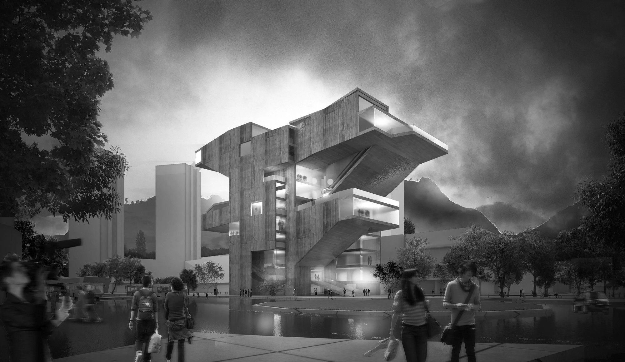 Tercer Lugar en Concurso público del diseño de nueva cinemateca distrital de Bogotá / Colombia, Cortesia de estudio.entresitio