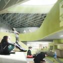The central atrium will unite the building's three wings. Image Courtesy of LAVA