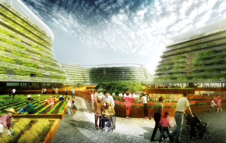 SPARK Proposes Vertical Farming Hybrid to House Singapore's Aging Population, Deck Level. Image Courtesy of SPARK