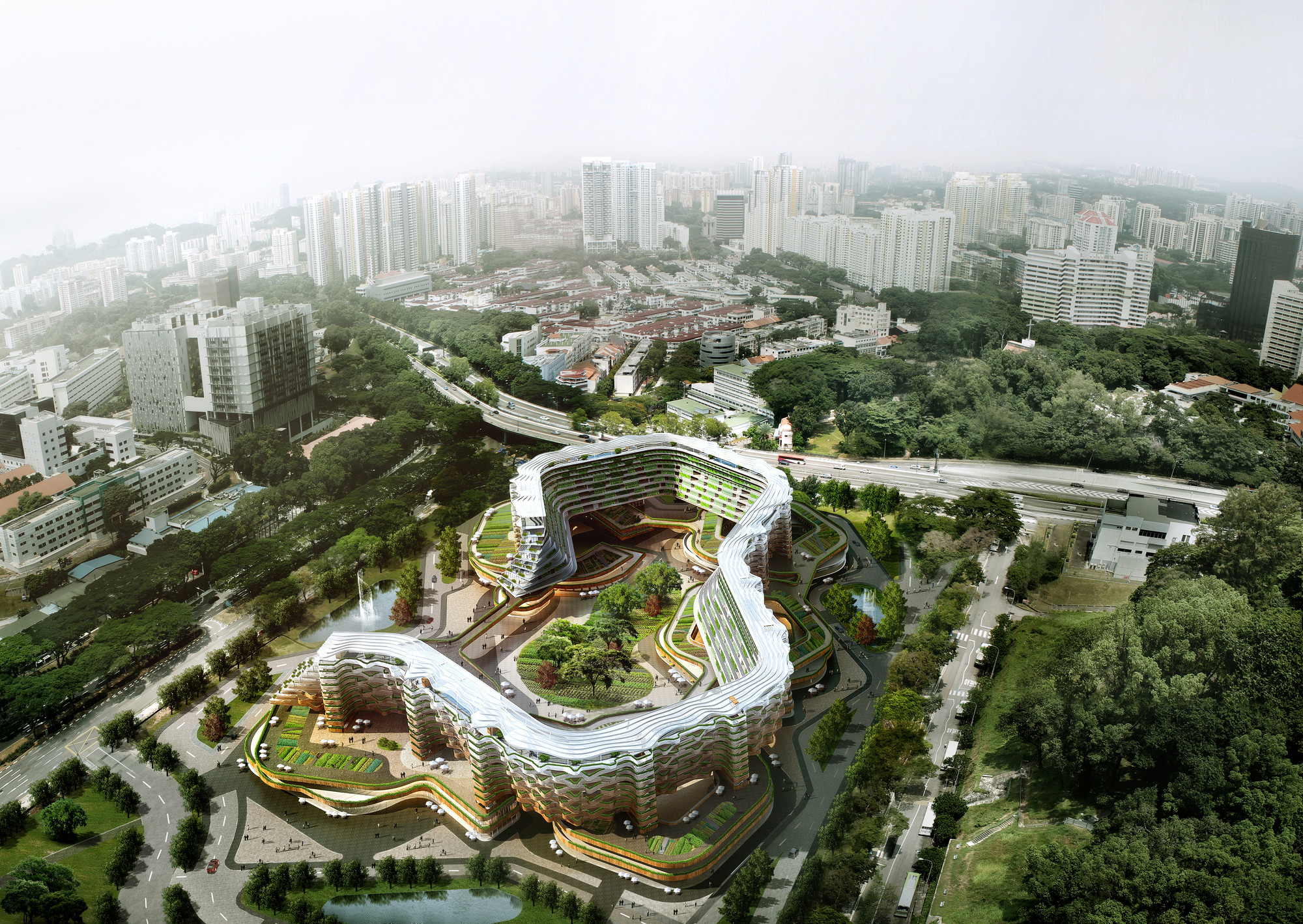 Spark proposes vertical farming hybrid to house singapore for Old age home landscape design