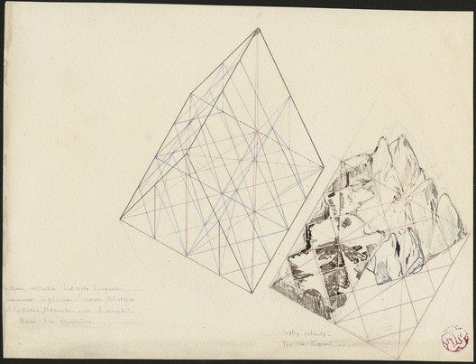 Half of a rhombohedron. Remains of a crystal system separating the glacier of Envers Blaitière Vallée Blanche (Viollet-le-Duc). Image © Médiathèque de l'architecture & du patrimoine